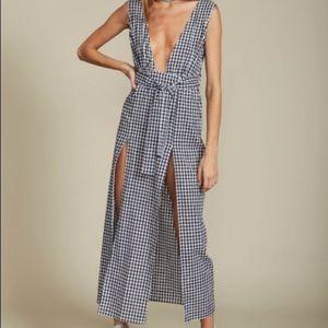 Gingham checkered maxi plunge slit dress
